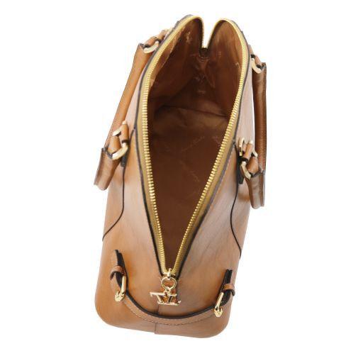 TL Bag Handtasche aus Leder mit Schnallen Dunkelbraun TL141235
