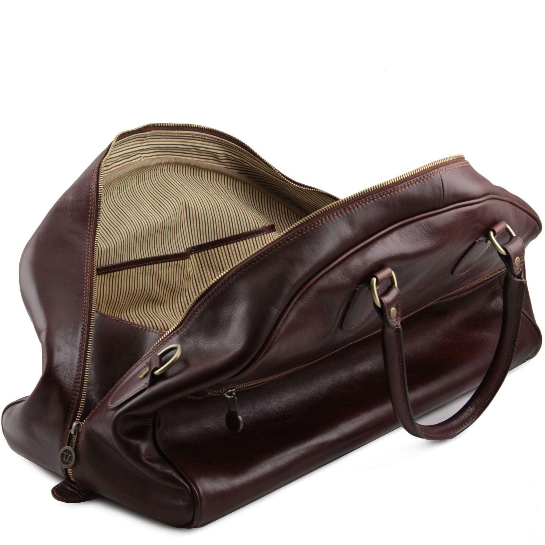 tl voyager reisetasche aus leder in halbrundem design gross old brown tl141245. Black Bedroom Furniture Sets. Home Design Ideas