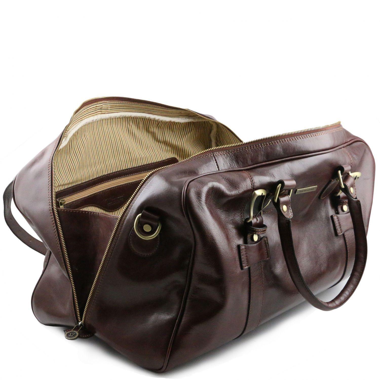 TUSCANY LEATHER Sac de voyage en cuir avec boucles- Grand modèle - Marron foncé IKpqMLIh