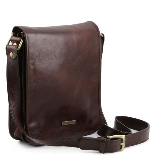 TL Messenger Two compartments leather shoulder bag Brown TL141255