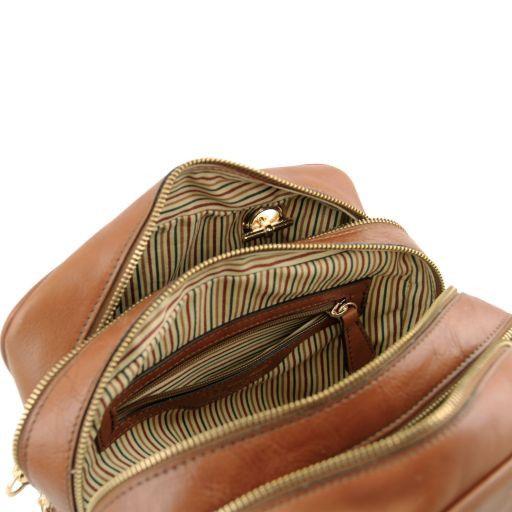 TL NeoClassic Bauletto in pelle con manici a catena e nappa Blu TL141266