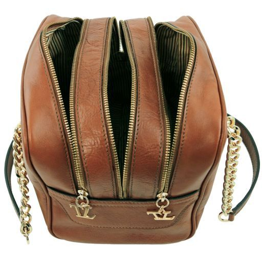 TL NeoClassic Leather handbag with chain handles and tassel details Dark Taupe TL141266