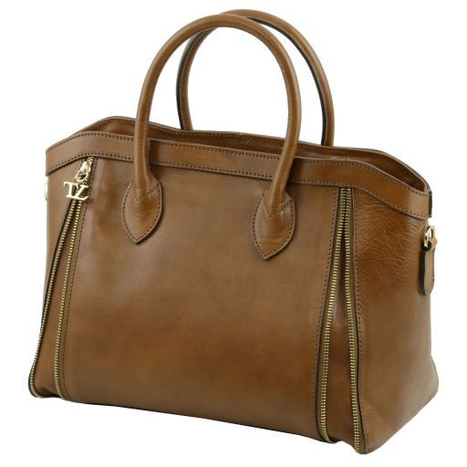 TL Bag Leather handbag with front zip Cognac TL141279