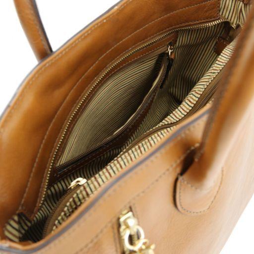 TL Bag Leather handbag with front zip Cognac TL141279