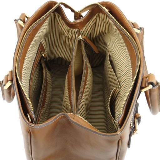 TL Bag Borsa a mano in pelle con tasca frontale Talpa scuro TL141280
