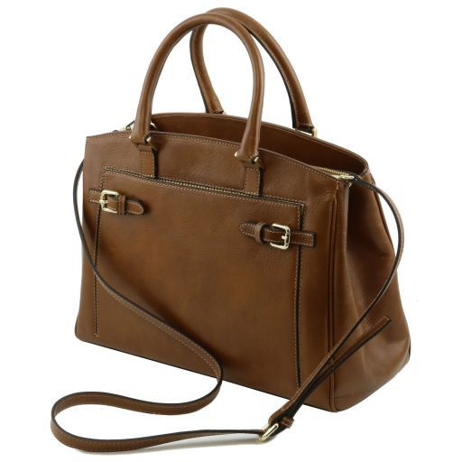 TL Bag Borsa a mano in pelle con tasca frontale Cognac TL141280