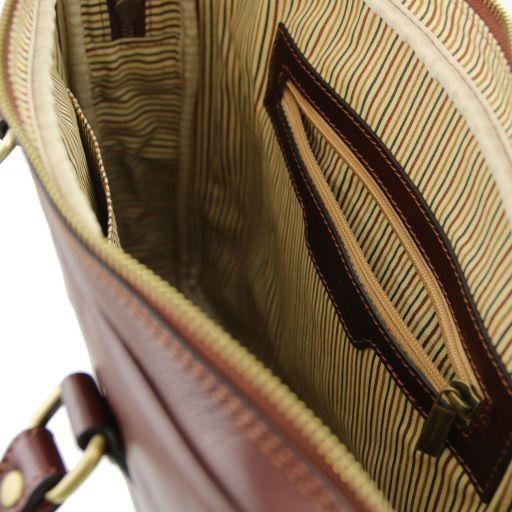 Prato Elegante porta folios y porta ordenador portátil en piel Marrón oscuro TL141283
