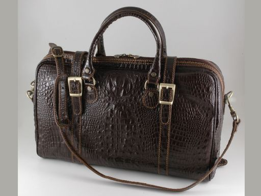Berlin Croco look leather travel bag - Small size Темно-коричневый TL140751