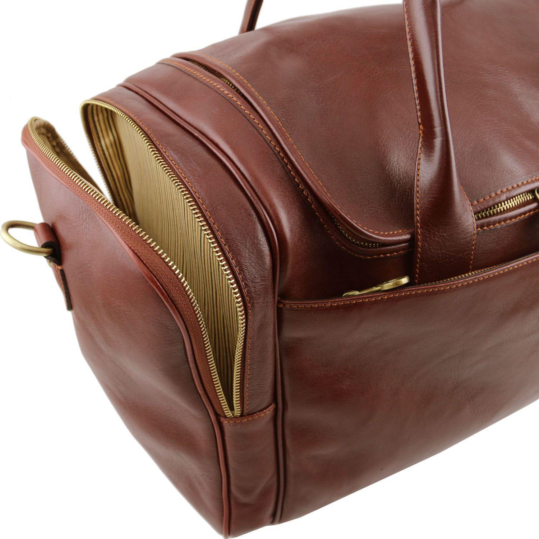 Tuscany Leather - TL Voyager - Sac de voyage en cuir avec poches aux côtés - Marron foncé ND8k8uqAq1