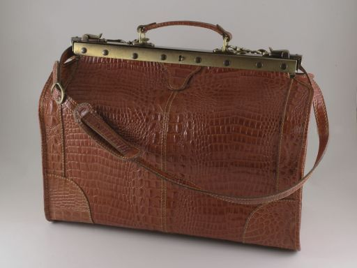 Madrid Croco look leather travel bag - Small size Brown TL140753