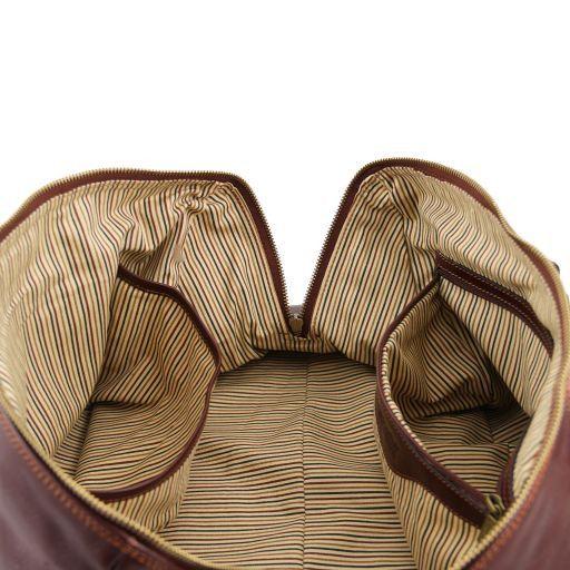 TL Voyager Reisetasche aus Leder mit vorderer Reißverschlusstasche Braun TL141303