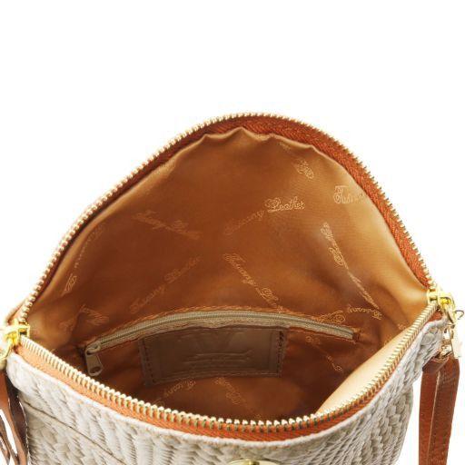 TL Bag Tracollina in pelle stampa spigata e nappa Lilla TL141310