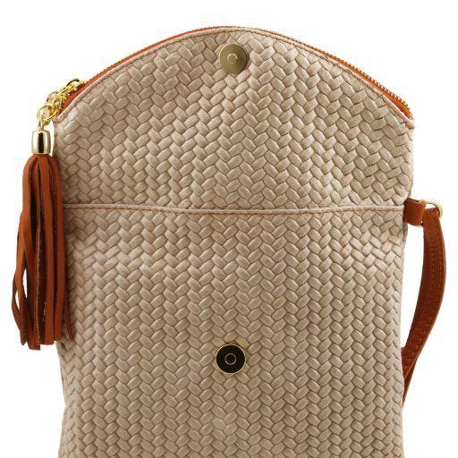 TL Bag Tracollina in pelle stampa spigata e nappa Nero TL141310