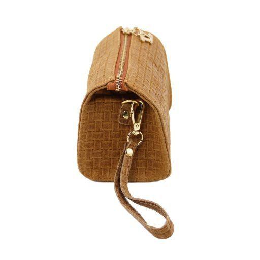 TL Bag Pochette in pelle stampa intrecciata e tracolla a catena Nero TL141312