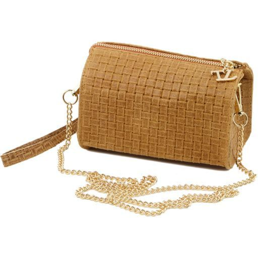 TL Bag Woven printed leather clutch with chain strap Черный TL141312