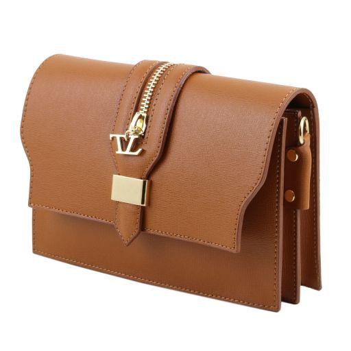 TL Bag Pochette in pelle Saffiano con tracolla sganciabile Corallo TL141317