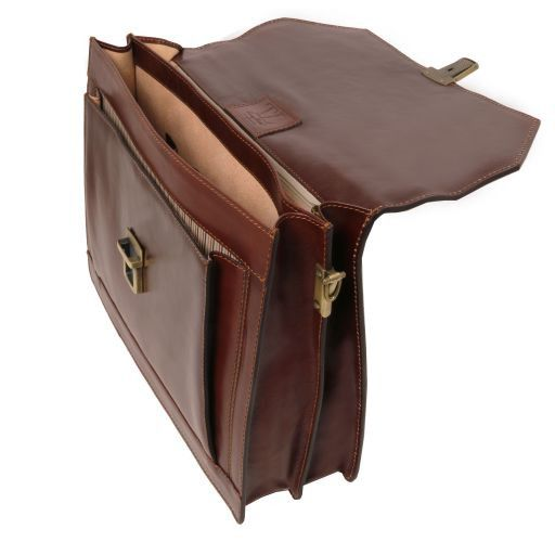 Napoli 2 compartments leather briefcase with front pocket Brown TL141348