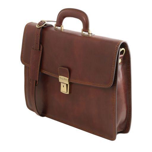 Amalfi Leather briefcase 1 compartment Dark Brown TL141351
