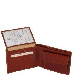 Esclusivo portafoglio uomo in pelle 3 ante con portaspiccioli Nero TL140763