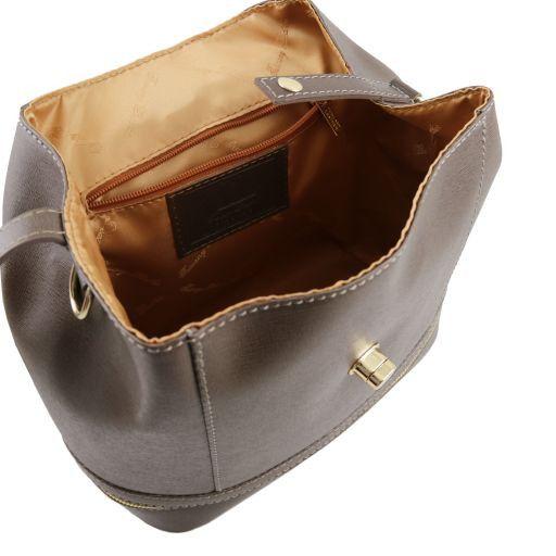 TL KEYLUCK Borsa donna in pelle Saffiano convertibile a zaino Testa di Moro TL141360