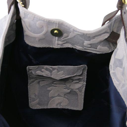 TL Keyluck Borsa shopping in pelle scamosciata stampa floreale Testa di Moro TL141361