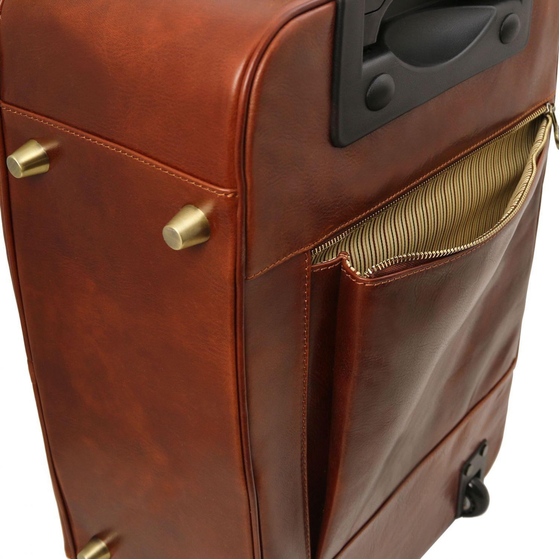 Tuscany Leather TL Voyager Valise verticale en cuir avec deux roulettes Marron fd2qEp9o