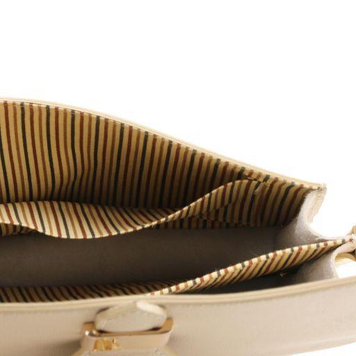 TL Bag Pochette in pelle Saffiano con tracolla sganciabile Blu scuro TL141398