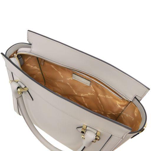 Lara Borsa a mano in pelle con zip frontale Grigio chiaro TL141414