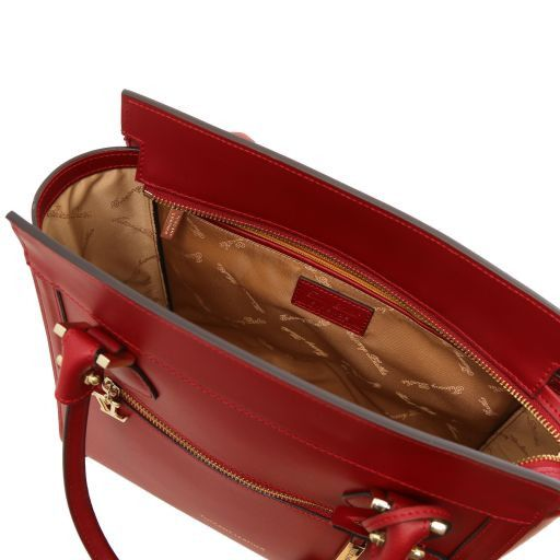Lara Borsa a mano in pelle con zip frontale Rosso TL141414