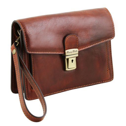 Tommy Exclusive leather handy wrist bag for man Dark Brown TL141442