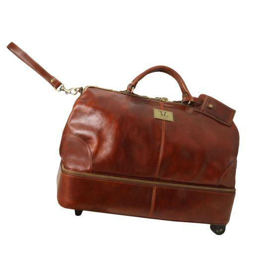 Siviglia Maulbügelreisetasche aus Leder mit Doppel-Boden und zwei Rollen Schwarz TL141451