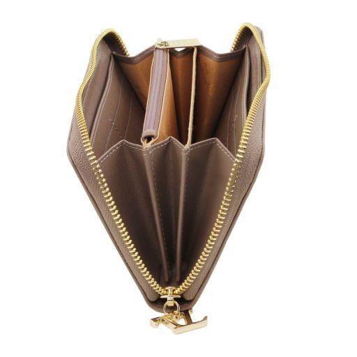 Esclusivo portafogli donna in pelle Saffiano a 3 scomparti con zip Rosso TL141461