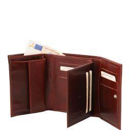 Esclusivo portafogli in pelle da donna 4 ante Miele TL140790