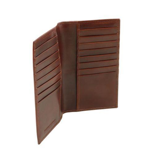 Esclusivo portafoglio/portacarte di credito verticale in pelle Miele TL141495