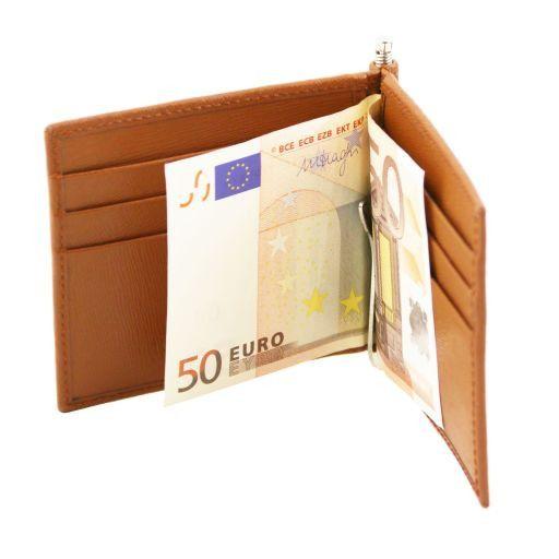 Exklusives Kredit Visitenkartenetui Aus Saffiano Leder Mit Geldklammer Dunkelblau