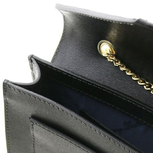 Iride Pochette in pelle Saffiano con tracolla a catena Nero TL141565