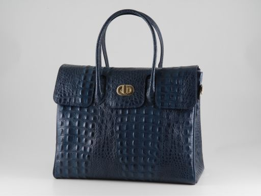 Erika Hobo Damentasche aus Leder im Kroko-Look - Gross Blau TL140847
