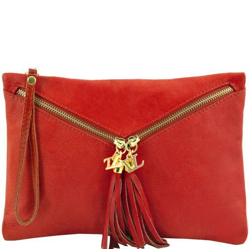 Audrey Leather clutch Red TL140988