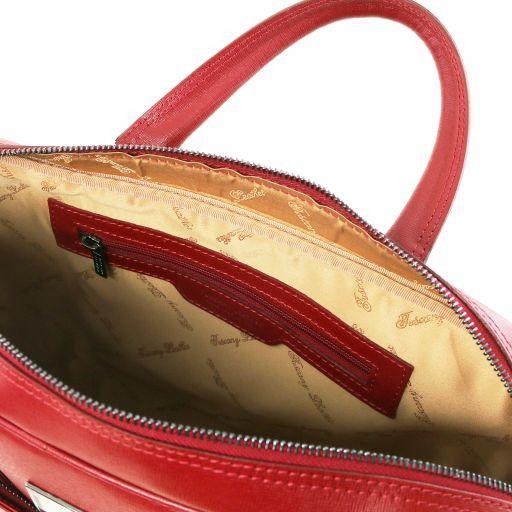 Urbino Maletín ordenador en piel para Saffiano con bolsillo delantero Rojo TL141627