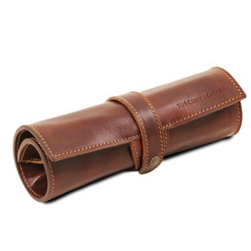 Exclusivo portaboligrafo en piel Marrón TL141620