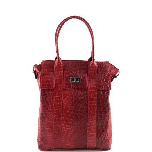Eva Sac à épaule en cuir imprimé - Grand modèle Rouge TL140922