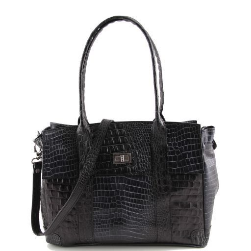 Eva Croco look leather shoulder bag - Medium size Black TL140923