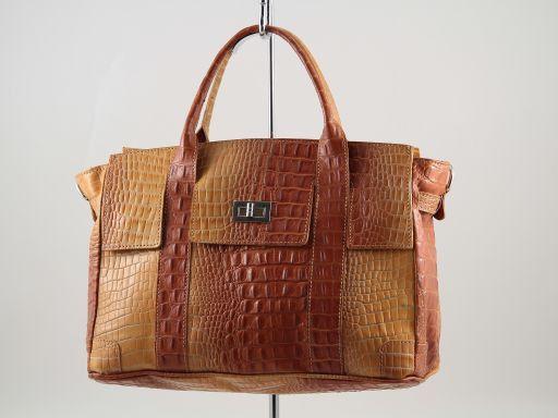 Eva Borsa a mano in pelle stampa cocco - Misura piccola Arancio TL140924
