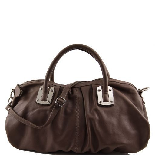 Nora Leather mini duffle for women Dark Taupe TL140934