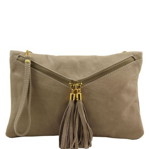 Audrey Leather clutch Light Taupe TL140988