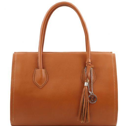 TL Bag Sac à main en cuir avec pompon et bandoulière Cognac TL141091