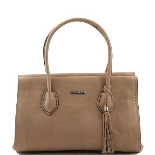 TL Bag Soft leather bag with tassel detail and shoulder strap Light Taupe TL141091