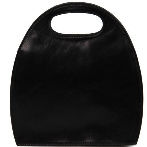 Carmen Borsa in pelle con manico ovale Nero TL6088