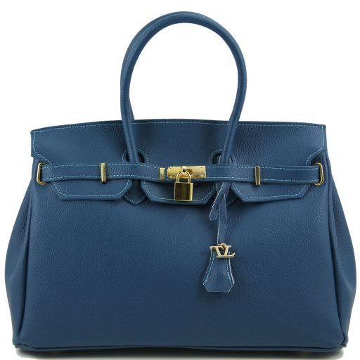TL KeyLuck Leather handbag with golden hardware Teal TL141092