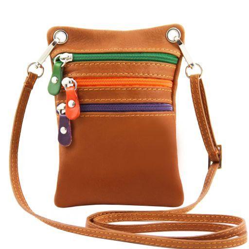TL Bag Mini Schultertasche aus weichem Leder Cognac TL141094